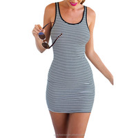 Women Fitness Mini Sexy Dresses 2016 New Black White Sleeveless Striped Bodycon Dress D138