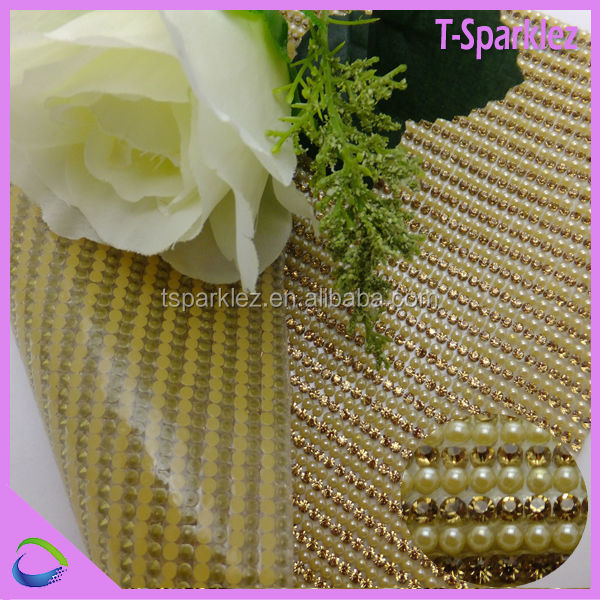 pearl gold chain crystal rhinestone mesh roll for clothes
