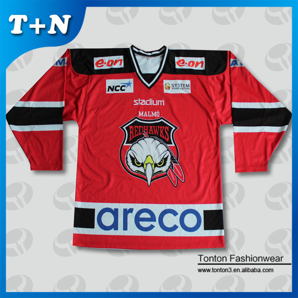 full sublimated printed lightweight v-neck mesh wholesale blank hockey jersey