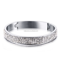 2016 newest half pave white shiny rhinestone design silver bangle for women high quality stainless steel jewelry