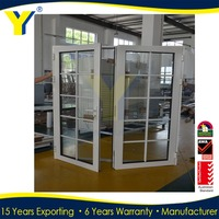 2016 HOT SALE single leaf double swing door/single leaf double swing door / aluminum frame glass sw high