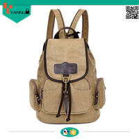 2016 hot sale high quality leisure vintage elegant school canvas cotton backpack bag for student wholesale