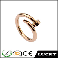 Hot selling adjustable rose gold nail ring jewelry