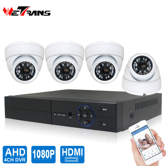 H.264 Security Camera 4ch CCTV DVR Kit Sony IMX323 CCTV System Indoor HD 1080P 4CH DVR P2P 20m Night Vision Dome Kit