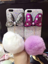 New products 2016 for iPhone 6 6s cell phone case with plush ball design, high quality bling bling diamond back cover case