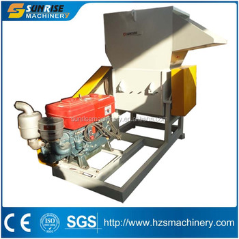 Plastic PET bottle crusher with diesel engine