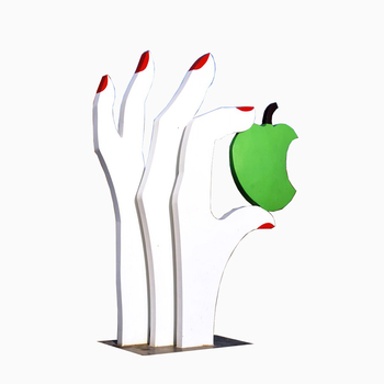 large size outdoor garden decoration hand-made decorations stainless steel hand statue with a apple