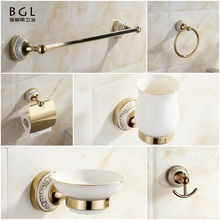 2017 Bathroom Accessories Set 11800 6pcs Gold Ceramic Bathroom Accessories Set