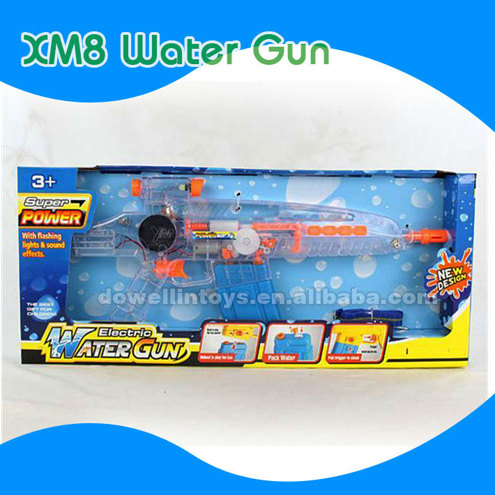 2013 Hot Summer's Best Water Gun Plastic Toys XM8 Clear Electric Motorized Water Gun with light/music for Promotion Kid toys