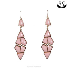 Personality gold plated fashion elegant party hot selling pink Acrylic earrings