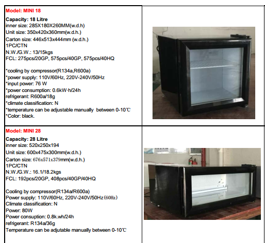 48L cold refrigerated showcase with glass door