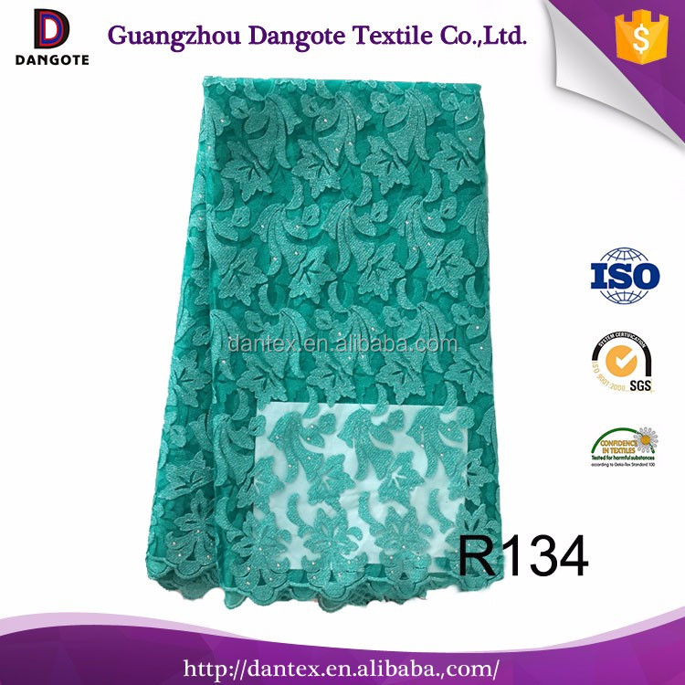 Fashion african embroidery lace fabrics french lace in stock <strong>R134</strong> in green