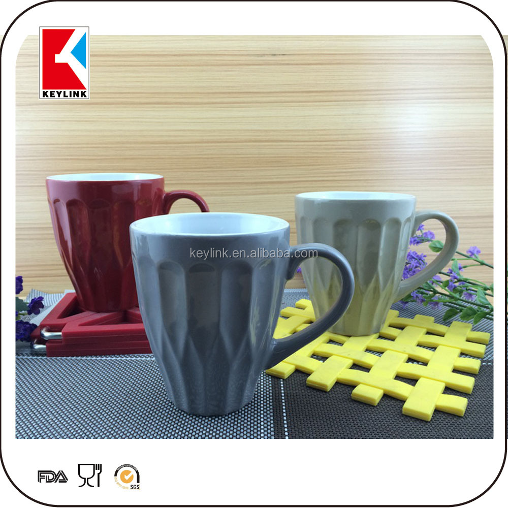 wholesale solid color glaze promotional gift milk stoneware mug cup coffee ceramic crinkle cup