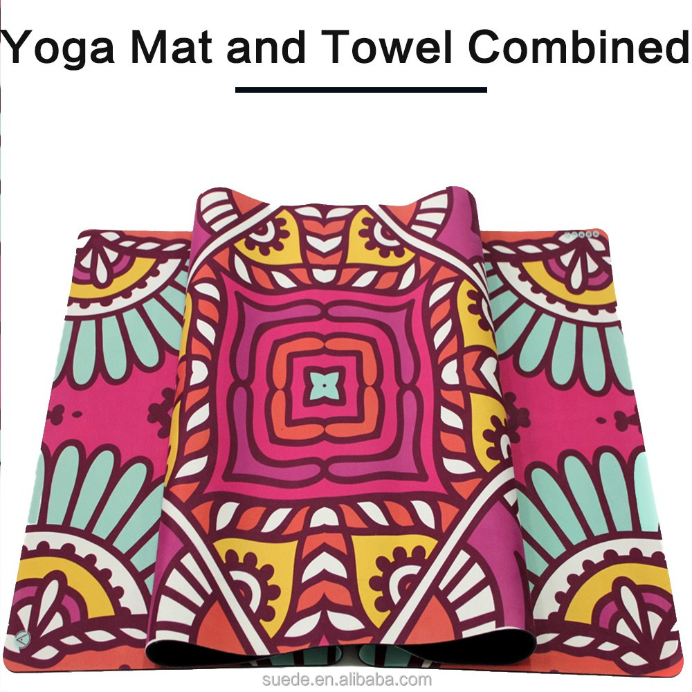 Eco friendly custom printed non slip nbr and microfiber suede towel combine yoga mat