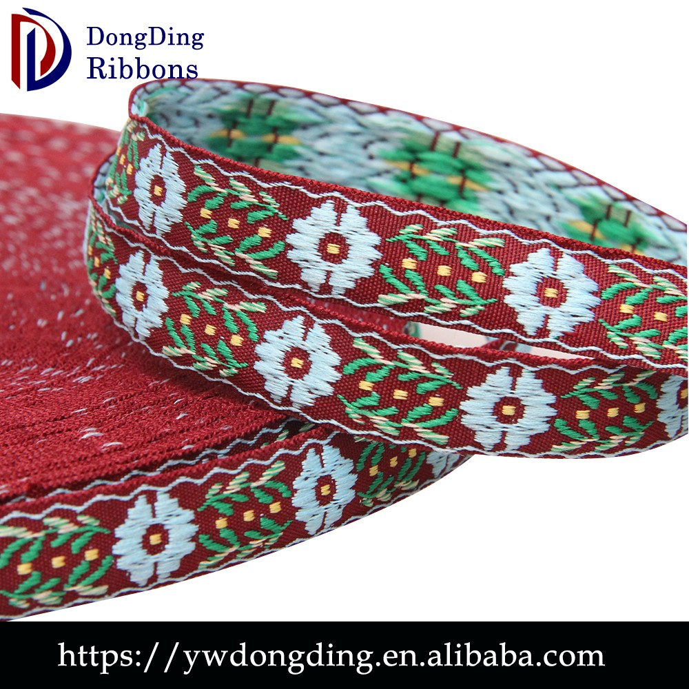 China Suppliers 2cm floral nylon woven fabric jacquard ethnic ribbon embroidered trim