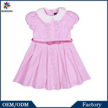 Children Frocks Designs Hot Pink Peter Pan Neck Summer Cotton Kids Clothes Dress Up Games For Girls