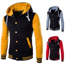 New Fashion American Yellow Sleeves Mens Blank Baseball Varsity Jacket with Hoodie