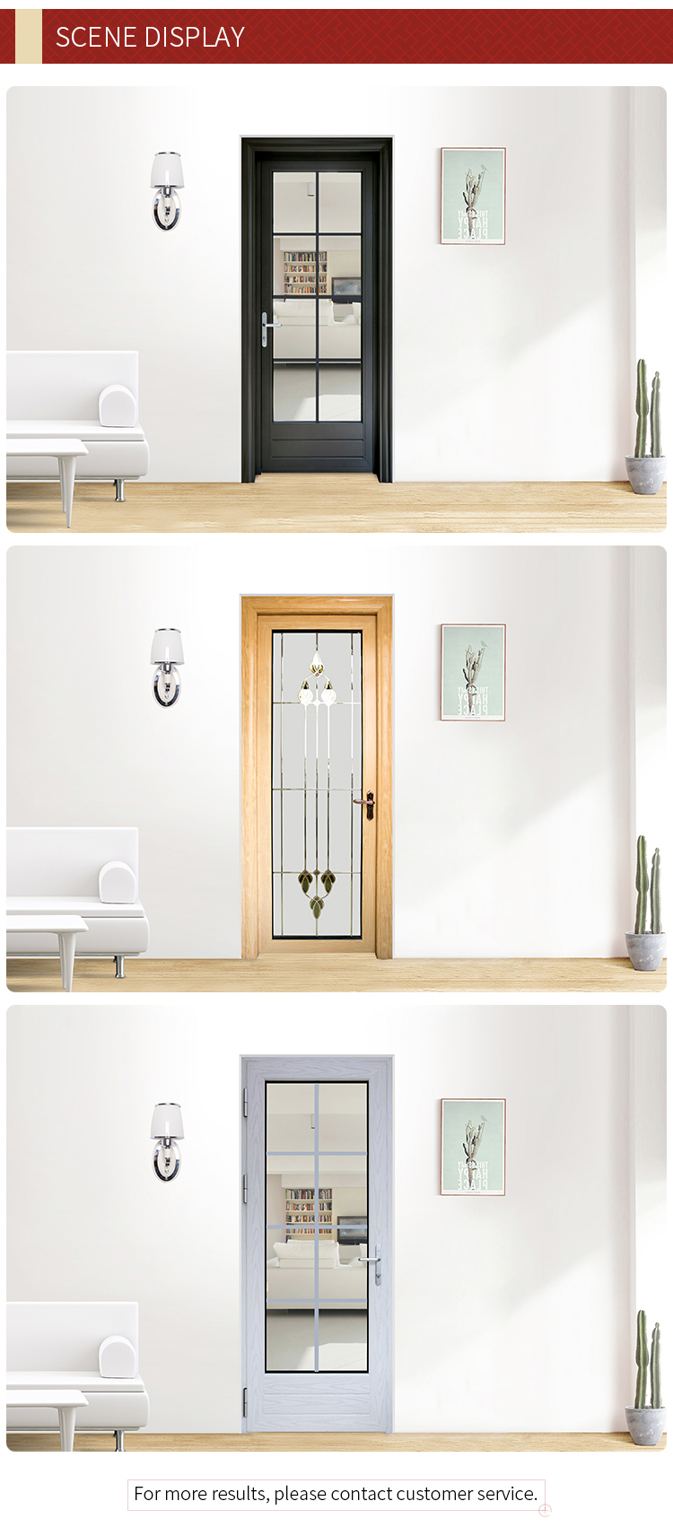 YiFa aluminum decorative frosted glass interior bathroom doors