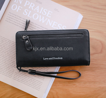 New Style Black Leather Wallet with Zipper Pocket
