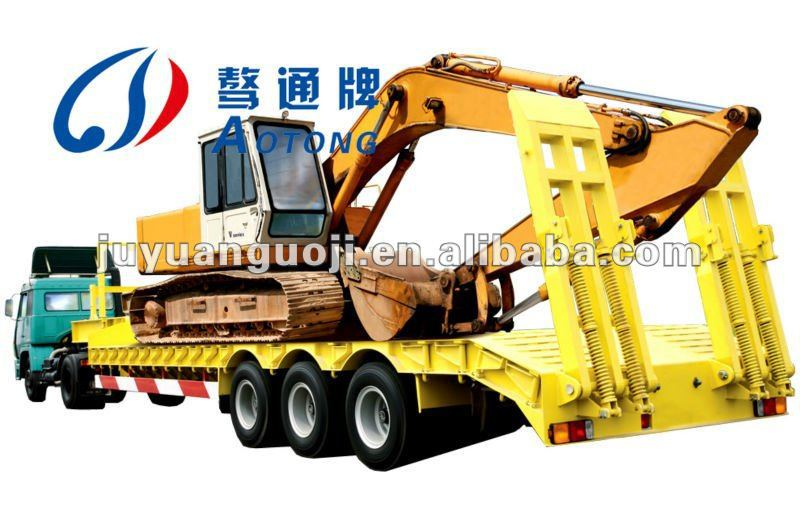 2017 excavator transporting gooseneck lowbed 3 axles 60ton low bed trailer with ladder