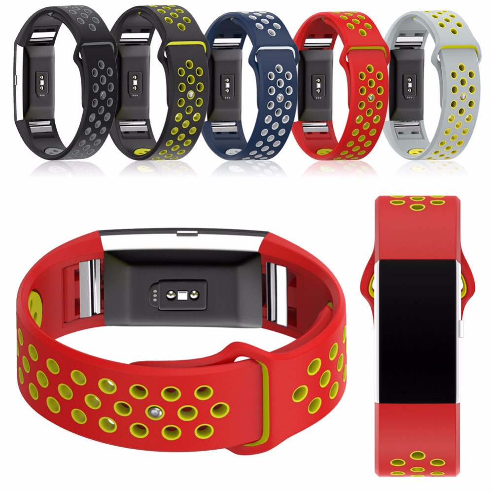 Double Color Soft Silicone Sport Style Replacement Strap Bracelet for Fitbit Charge 2