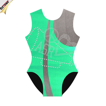 Apple Green custom made leotards crystal heart design gymnastics leotards for women