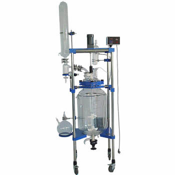 Ce and Iso Certified 100l Jacket Glass Reactor Cylindrical Double Layer Glass Chemical Reactor With Rectification Column For Gra