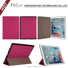Ultra slim lightweight three foldable stand folio tablet leather case for iPad pro 12.9""