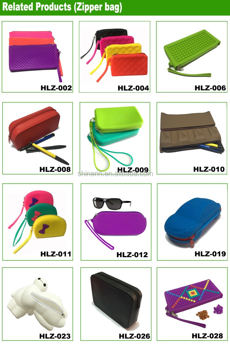 Customized PMS Color Pencil Coin Purse Oem Brand Silicone Zipper Bags