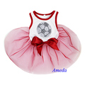 NEW Red White Rhinestone World Cup Football Flag Japan England Dogs Clothes Party Dress XS-L