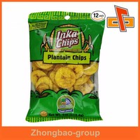 Middle transparent OPP/PE plastic resealable doypack bag for dried fruit/banana chips