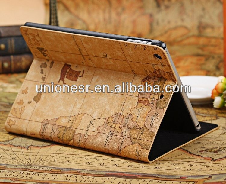 Wholesale map pattern for ipad air pu bumper case accept paypal