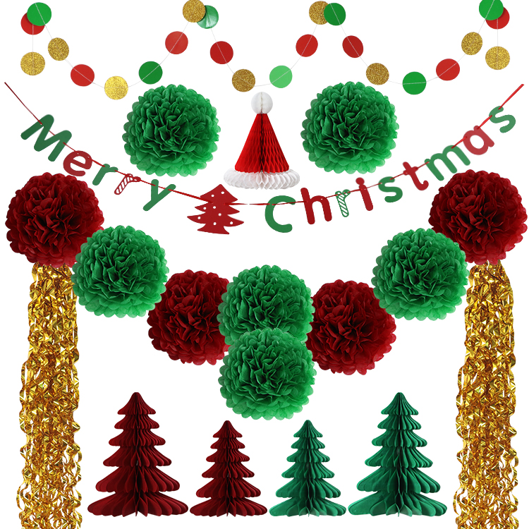 UMISS PAPER Hanging Garland Banner Sring Party PomPom Flowers Christmas Tree Set Home <strong>Decoration</strong> New Christmas <strong>Decorations</strong>