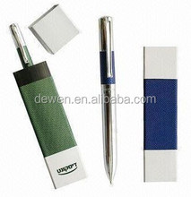 Hot sale--High quality Green leather pen&blue leather pen set with leather pen tube