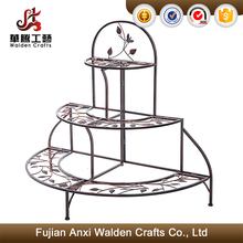 3 tier floral bronze wrought iron potted plant stand flower display stand rack