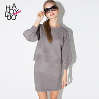 HAODUOYI Woman Winter Knitted Skirts OL Style Tight Mini Skirt for Wholesale