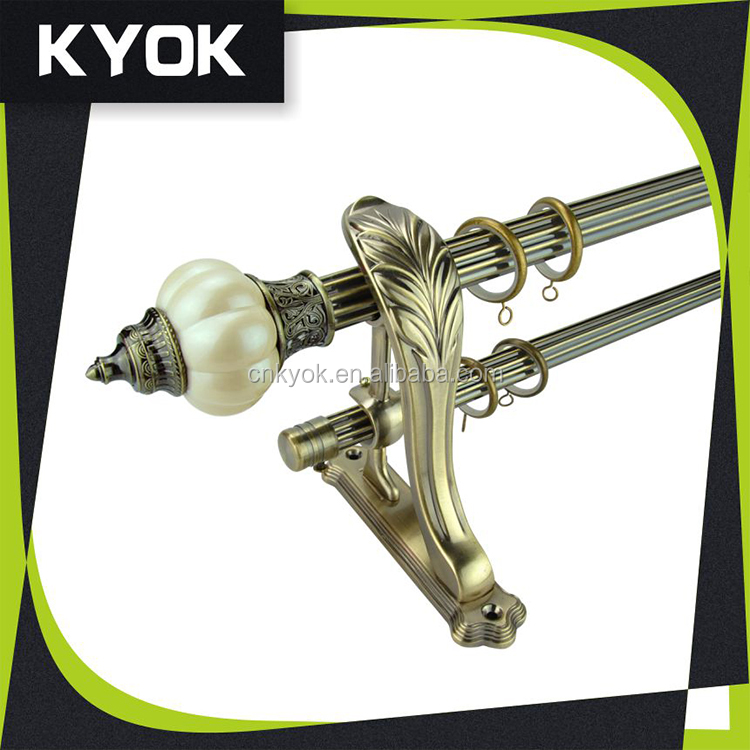 KYOK special curtain rod /pole set ,clear polyresin kids curtain rod finials ,hot sale curtain rod accessories