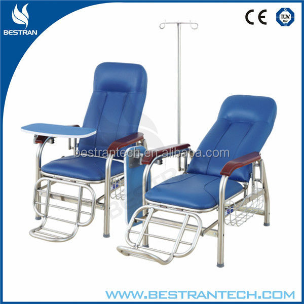 BT-TN003 cheap high quality hospital furniture chair, lying adjustable chairs elderly with table