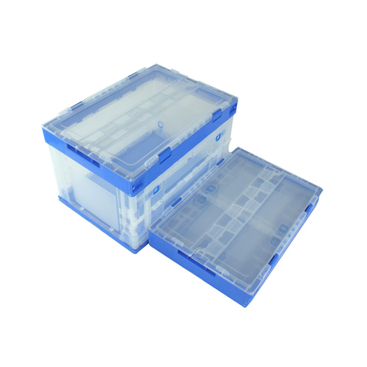 eco-friendly collapsible folding plastic material hinged lid container