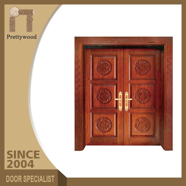 Luxury Wholesale Handcarved Wood Double Entry Malaysian Doors