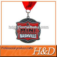 Custom New Promotion Zinc-alloy Material olympic medal 2012 with red ribbon