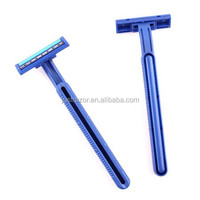 Twin blades stainless steel razor with strip