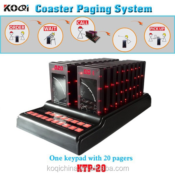 Order taking system one keypad transmitter with 20 coaster pagers