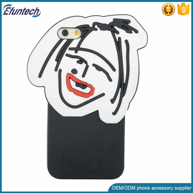 Hot selling cell phone accessory comic ugly girl 3D silicone phone cover for iphone 6s plus