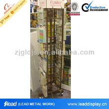 4 tiers cardboard magazine display stand in store