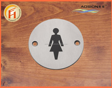 European style stainless steel round shape metal door sign plate
