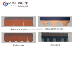 2017 hot sell cheap price roofing asphalt shingle with fish-scale / mosaic / 3-tab / laminated shapes