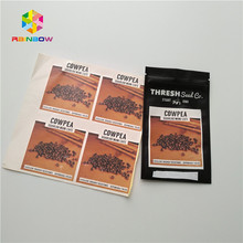 Heat sealed resealable mylar ziplock seeds bags with different favor adhesive printed stickers
