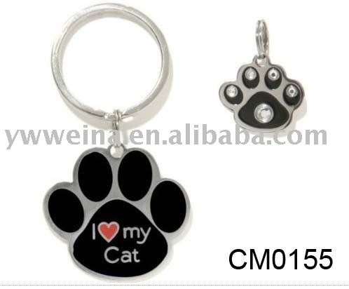 Pet Charm Black Rhinestone Paw