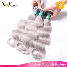 Silver Grey/Gray Brazilian Body Wave Hair Weave Bundles Brazilian Remy Human Hair Extensions 7A Remy Grey Hair Weave,Can Be Dyed